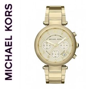 NWT MK Parker Champagne Dial Gold-tone Watch